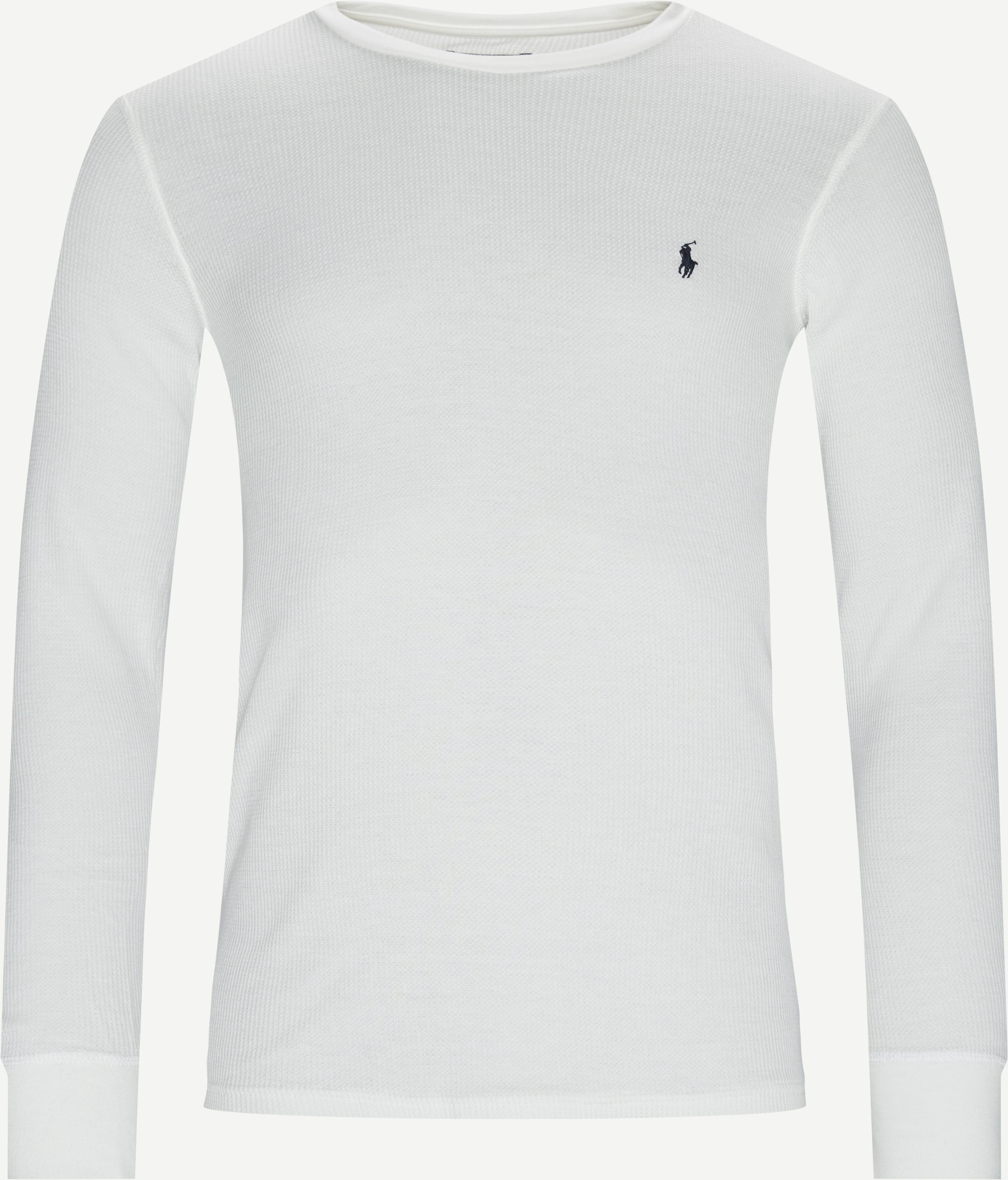 Waffle Crew Neck Long Sleeve - T-shirts - Slim - Hvid